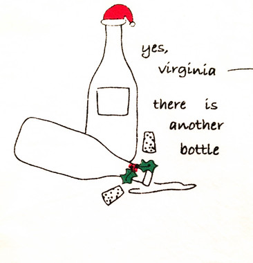 "Cork Pops  ""Yes Virginia There is Another Bottle"" Holiday Dish Towels"