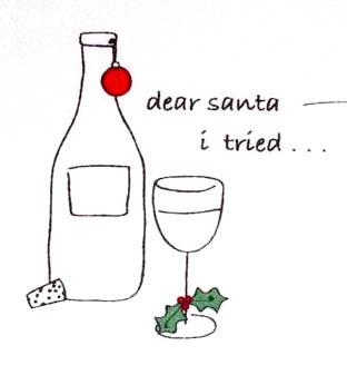 "Cork Pops ""Dear Santa I Tried..."" Holiday Bar/Dish Towel"
