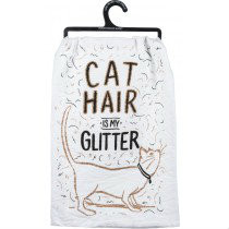 "Primitives By Kathy ""Cat Hair is My Glitter"" Dish Towel"