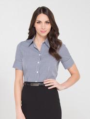 LSJ Ladies 1/2 Sleeve Gingham Check Shirt - Black/White
