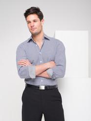 LSJ Mens Long Sleeve Gingham Check Shirt