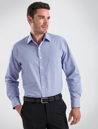 John Kevin Mens L/S Simplicity Stripe Shirt