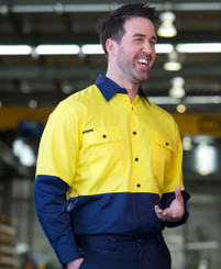 Hi Vis Lightweight Cotton Drill Shirt with Mesh underarm