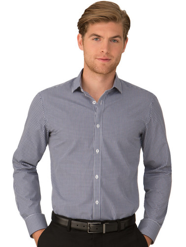 Navy So Ezy Check Long Sleeved Shirt