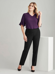 Wool Blend Bandless Slim Leg Pant