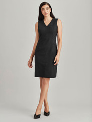 Woolblend Sleeveless V Neck Dress