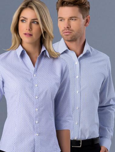 Mens & Ladies Slim Fit Dobby Stripe Shirt