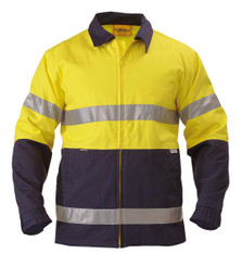 Bisley 2 Tone Hi Vis Drill Jacket 3M Reflective Tape