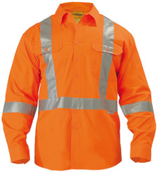 Bisley 3M X Taped Hi Vis Long Sleeve Mens Drill Shirt