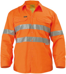 Bisley Cool Lightweight Gusset Cuff Hi Vis Mens Shirt with 3M Reflective Tape - Long Sleeve