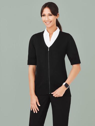 Womens Zip Front Short Sleeve Knit
