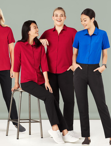 Womens Easy Stretch 3/4 & S/S Sleeve Shirt