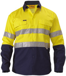 Bisley 2 Tone Hi Vis Shirt 3M Reflective Tape - Long Sleeve