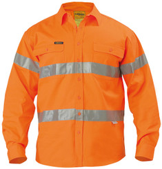 Bisley Hi Vis 3M Reflective Tape Mens Drill Long Sleeve Shirt