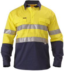 Bisley 2 Tone Closed Front Hi Vis L/S Drill Shirt 3M Reflective Tape