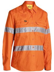 Ladies Hi Vis Taped X-Airflow Orange Ripstop Shirt