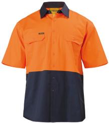 Bisley 2 Tone Hi Vis Cool S/S Lightweight Gusset Cuff Shirt