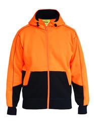 Bisley Orange/Navy Hi Vis Fleece Hoodie