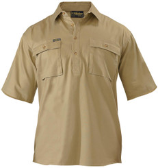 Bisley Closed Front Mens S/S Cotton Drill Shirt
