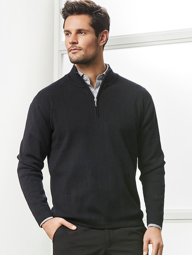 Merino Wool Needle Out Mens 1/2 Zip Pullover