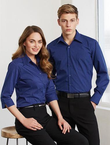 Biz Collection Manhattan Stripe Mens L/S Shirt