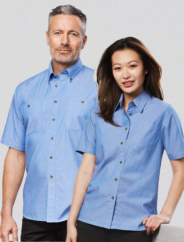 Wrinkle Free Mens & Ladies  S/S Chambray Shirt