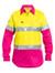 Bisley 3M Taped Ladies Yellow/Pink Cool Hi Vis Light Weight Shirt - Real Men Wear Pink