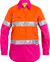 Bisley 3M Taped Ladies Orange/Pink Cool Hi Vis Light Weight Shirt - Real Men Wear Pink