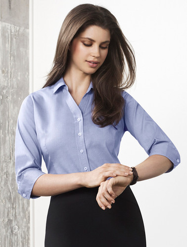 Hudson Ladies 3/4 Sleeve 100% Cotton Shirt