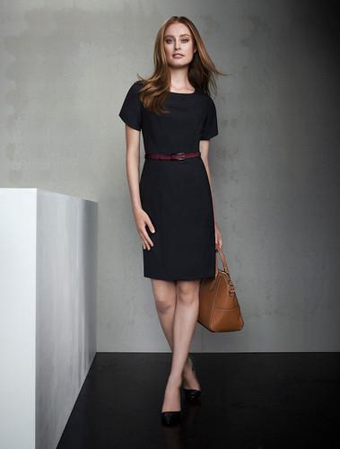 Short Sleeved Wool Blend Shift Dress