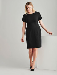 Short Sleeved Wool Blend Shift Dress
