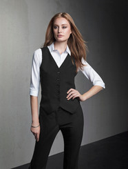 Wool Blend  Peaked Vest with Knitted Back