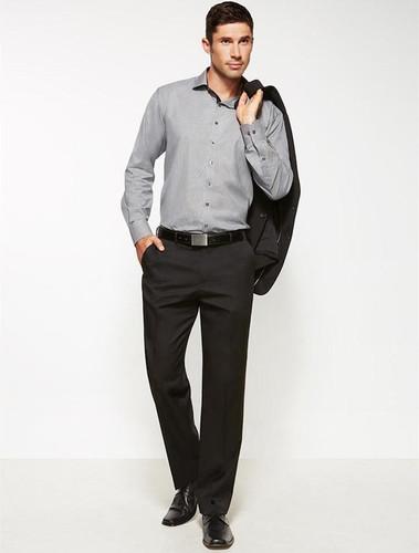 Mens Flat Front Cool Stretch Plain Trouser