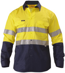 Bisley L/S Hi Vis Cool Lightweight  Shirt 3M Reflective Tape