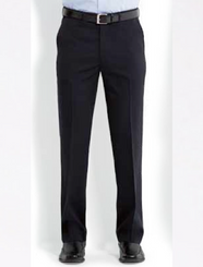 Mens Plain Front Flexi-Waist Trousers