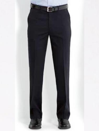Mens Plain Front Flexi-Waist Trousers