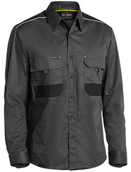 Bisley Flex & Move™ Mechanical Stretch Charcoal Long Sleeved Shirt