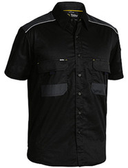 Bisley Flex & Move™ Mechanical Stretch Black Short Sleeved Shirt