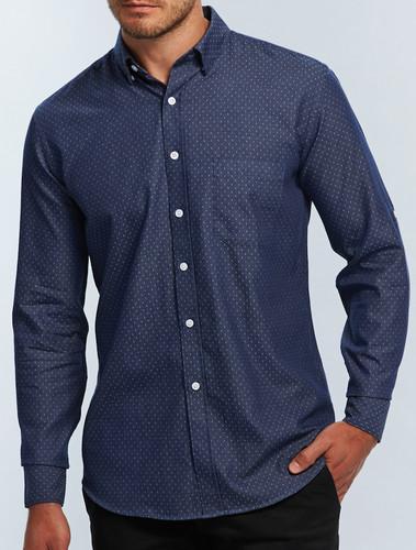 Gloweave Mens Polka Dot Denim Shirt