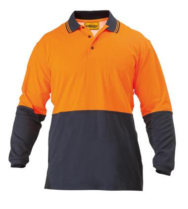 Hi Vis Cotton Backed Orange/Navy Long Sleeved Polo Shirt