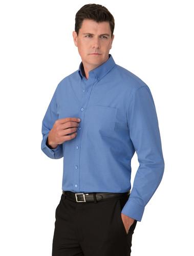 Blue Microcheck Mens L/S Shirt