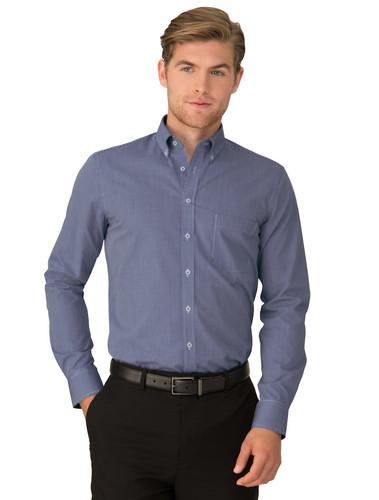 City Collection Mens Navy Pippa Check Long Sleeved Shirt