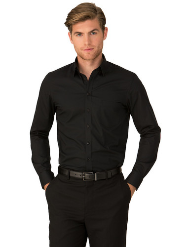 City Stretch® Mens  Black Long Sleeved Shirt