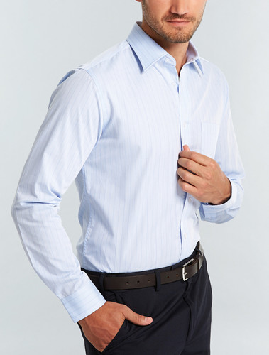 Gloweave Blue Wrinkle Free Mens L/S Shirt