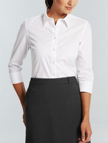 Gloweave Wrinkle Free Ladies 3/4 Sleeve White Shirt