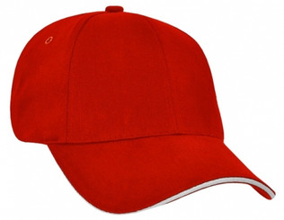 Heavy Brushed Cotton Red/White Sandwich Peak Cap
