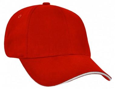 Heavy Brushed Cotton Red/White Sandwich Peak Cap