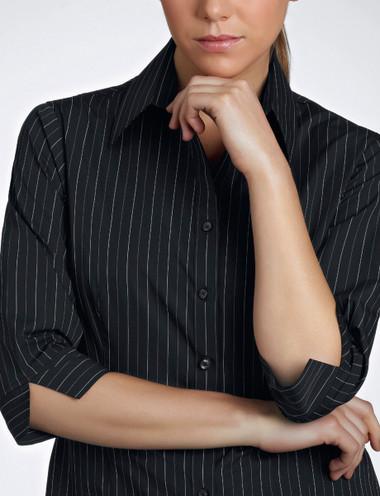 John Kevin Women's 3/4 Sleeve Fine Stripe