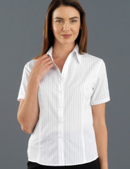 John Kevin Women's Short Sleeve Fine Stripe