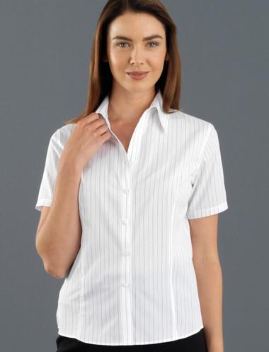 John Kevin Women's Short Sleeve Fine Stripe